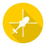 Helicopter icon with long shadow. Vector icon Stock Photo