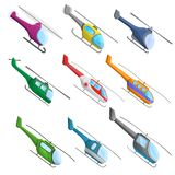Helicopter icon set, cartoon style vector illustration