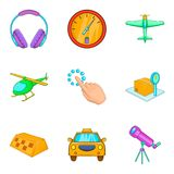 Helicopter icons set, cartoon style. Helicopter icons set. Cartoon set of 9 helicopter vector icons for web isolated on white background Stock Image