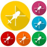 Helicopter icons set with long shadow. Vector icon Royalty Free Stock Image