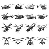 Helicopter icons set, simple style stock illustration