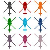 Helicopter icons set. Vector icon Royalty Free Stock Images