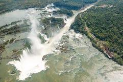 Helicopter Iguacu water Falls, Brazil Iguazu Royalty Free Stock Photos