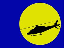 Helicopter illustration. Modern helicopter silhouette in moonlight (vector eps format Royalty Free Stock Photo