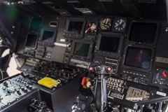 Helicopter cockpit. Helicopter interior cockpit close-up Stock Photography