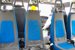 Helicopter interior and seat for passenger, seat and safety belt in interior of helicopter Royalty Free Stock Photo