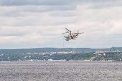 Helicopter Ka-52 Hokum B. Russian Kamov helicopter Ka 52 Hokum B Alligator aerobatics Royalty Free Stock Images