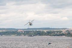 Helicopter Ka-52 Hokum B. Russian Kamov helicopter Ka 52 Hokum B Alligator aerobatics Royalty Free Stock Image