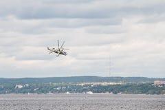 Helicopter Ka-52 Hokum B. Russian Kamov helicopter Ka 52 Hokum B Alligator aerobatics Stock Photography