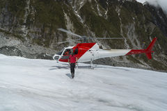 Helicopter landed on Franz Josef Glacier Stock Photography
