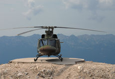 Helicopter landed on mountain 1# Royalty Free Stock Image