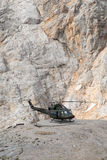 Helicopter landed on mountain 3# Royalty Free Stock Image