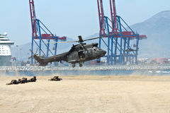 Helicopter landing Stock Photos