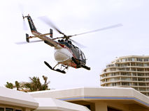 Helicopter landing. Emargency helicopter landing at beach front landing area Stock Photography