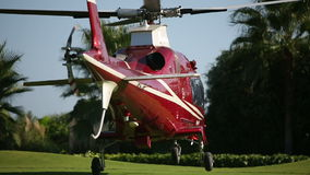 Helicopter landing  on the beautiful green pad. Sequence stock video footage