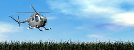 Helicopter landing - 3D render Royalty Free Stock Photos