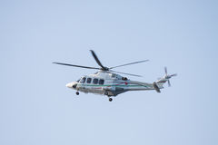 Helicopter landing on an offshore oil-plant Royalty Free Stock Images