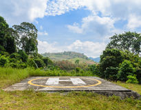 Helicopter landing pad on mountain Stock Photography
