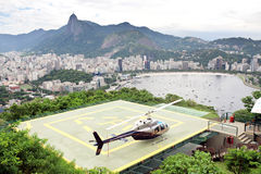Helicopter on landing pad Rio de Janeiro Stock Images