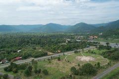 Helicopter landing port on green grass at Khundan Prakranchon da. M in Thailand Royalty Free Stock Photography