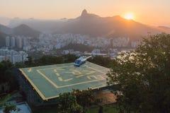 Helicopter landing in Rio de Janeiro Stock Photos