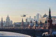 The helicopter landing on territory of the Moscow Kremlin royalty free stock photography