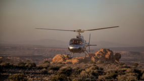 Helicopter Lands in the Valley of Fire near Las Vegas Royalty Free Stock Photography