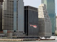 Helicopter Leaving Wall Street Heliport Tom Wurl Stock Image