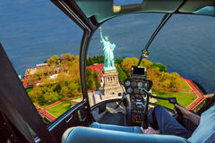 Helicopter on Liberty Island Royalty Free Stock Images