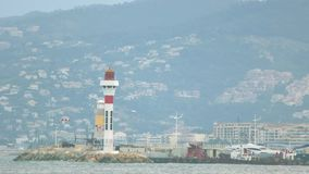 Helicopter and lighthouse. stock footage