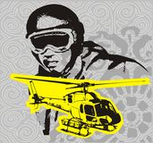 Helicopter line. Yellow graphic design and pilot helicopters royalty free illustration