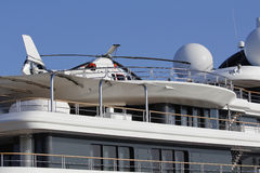 Helicopter in a luxury yacht Stock Photos