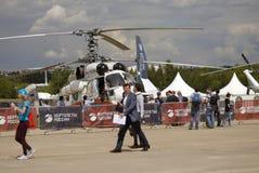 Helicopter at MAKS International Aerospace Salon MAKS-2017 Stock Photos
