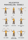 Helicopter marshalling signals. Infographics poster Royalty Free Stock Images