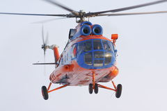 Helicopter Mi-8 flying is sky Stock Images