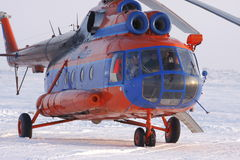 Helicopter Mi-8 on snow field. Krasnoyarskiy region, Taymyr, Russian Federation Stock Image