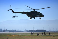 Helicopter Mi-17 Assault troops  Stock Photo