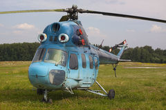 Helicopter MI-2. Blue helicopter MI-2 on the aerodrome Royalty Free Stock Photo