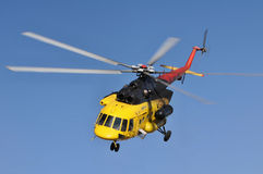 Helicopter Mi 171 in flight Stock Photos