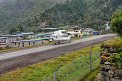 Helicopter MI-8. Soviet helicopter MI-8, Lukla airports, Khumbu district, Nepal. October 2012 Stock Photography