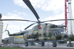 Helicopter Mi-8T. In the pavilion Space at VDNH establish transport-combat helicopter Mi-8T. Fighting vehicle is repaired, it will disconnect the equipment of stock photo