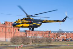 The helicopter of the Mi-8TB RA-24100 of the Alliance Avia AON airline on take-off close up. ST. PETERSBURG, RUSSIA - APRIL 07, 2018: The helicopter of the Mi Royalty Free Stock Image