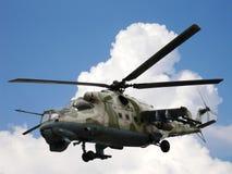 Helicopter Mi-24V Mi-35. Russian military helicopter Mi-24V Mi-35 in sky Stock Photo
