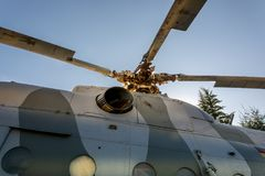 """Helicopter Mil Mi-9 """"Hip-G"""" rotor detail. With part of the top engine Stock Photo"""