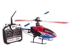 Helicopter model and radio remote control set. Isolated on white Stock Image