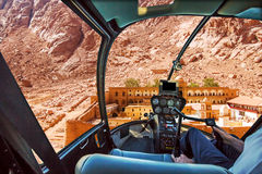 Helicopter on Monastery of St Catherine Royalty Free Stock Photography