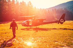 Helicopter in Montenegro mountains Royalty Free Stock Photos