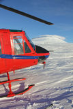 Helicopter at Mount Erebus, Antarctica stock photography