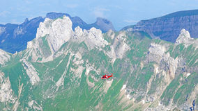 Helicopter in the mountains Royalty Free Stock Images