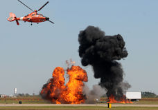 Helicopter observing fire Stock Photography